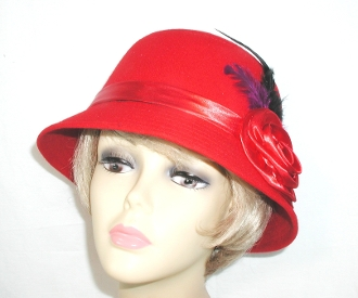 Crimson Cloche- Red Hat Society Ladies Hat