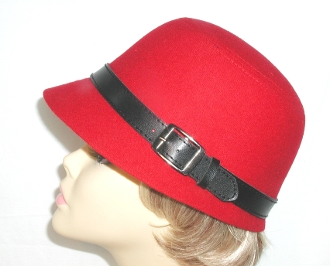 Red Hat Society Ladies Military Style Hat - Belt style Hat Band