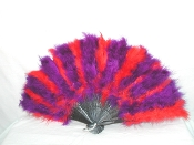 Red Hat Ladies red and Purple Feather Fan