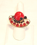 Red Hat Lady Large Crystal - Enamel Gold - Crystal Ring