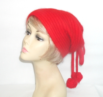 Angora Pom Pom Cap - Winter Red Hatters Cap