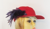 Fancy Feathers Red Baseball Cap - Red Hat Society Lady