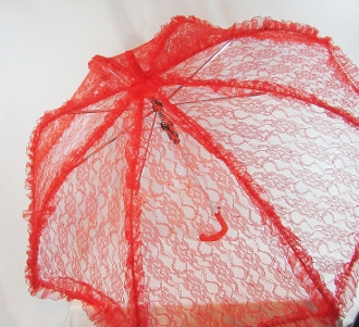 Red Lace Parasol Trimmed Purple- Red Hat Ladies Parasol