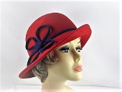 Scala Red Wool Cloche Hat - Red Hat Society Ladies