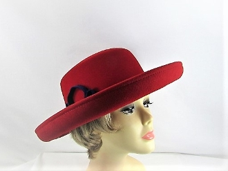 Red Scala Breton Style Hat - Original Red Hat Society Colors