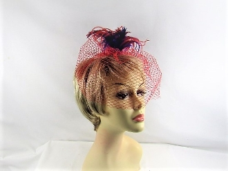 Red - Purple Feather Plume Head Band - Red Hat Society Lady