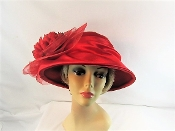 Red Majestic Mum Felt - Satin Hat - Red Hat Society Color