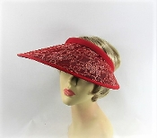 Red And Gold Lace Red Visor - Red Hat Society Ladies