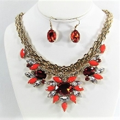 Red Heavy Chain Crystal Resin Necklace Earrings- Red Hat Glitz