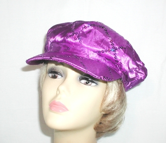 Purple Newsboy Cap - Red Hat Society Cap