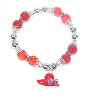Red Hat Ladies Red Hat Charm Bracelet