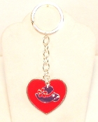 Purple Hat Charm - Red Heart Key Ring - Red Hatters