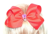 Red Hair Bow - Purple Flower - Crystal - Red Hat Society Ladies