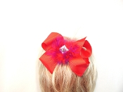 Red grosgrain Hair Bow - Red Hat Ladies - Red Hat Society Ladies Shopping