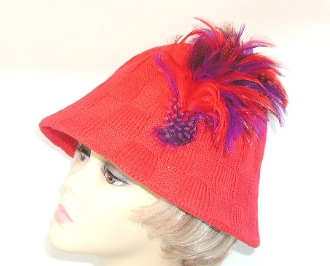 Flattering Feathers Red Hat - Christy Creations®