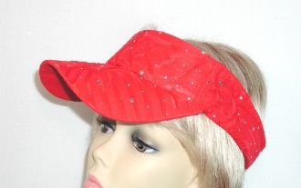 Red Sparkle Visor - Red Hat Ladies Visor