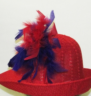 Red - Purple Feather Hat Pin - Myredhatstore.com exclusive