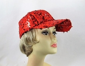 Red Fancy Sequin Baseball Cap - Red Hat Ladies Cap
