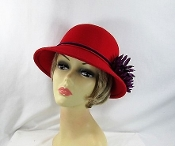 Magnificent Mum Felt Cloche Red Hat