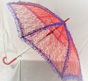 Red Lace Parasol Trimmed Purple- Red Hat Lady Colors