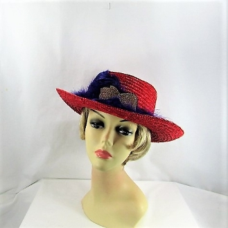 Fascinating Feathers Gambler Style Red Hat Society Lady Hat