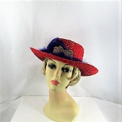 Fascinating Feathers Gambler Style Red Hat