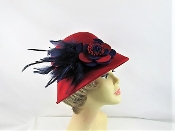 Felt Feather Flower Cloche Red Hat