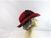 Scala Red Wool Velvet Bow Hat - Red Hat Society Colors