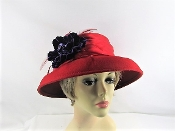 Vivid Velvet - Purple Flowered Red Hat Society Hat