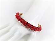 Red Rose Bangle Bracelet - Red Hat Society Ladies