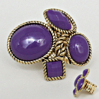 Purple Gold Rope Ring - Red Hat Society Ladies