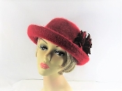 Red Hat - Adorable Angora Bowler Style Hat