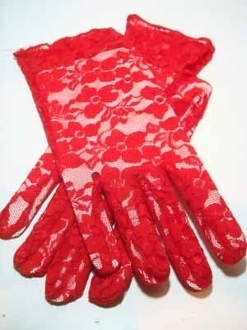 Red Lace Wrist Length Gloves - Red Hatter Accessory
