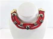 Gold - Red Rope Collar Necklace - Red Hat Society Lady