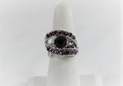 Purple - Lavender Crystal Band Ring - Red Hat Society Lady