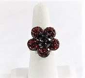 Red Crystal Flower Ring - Red Hat Lady