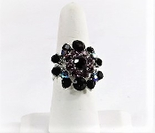 Purple Round Glitz Crystal Ring - Red Hat Lady Accessory