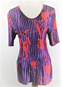 Red and Purple Pleated Blouse - Red Hat Ladies