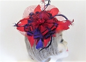 Red - Purple Feather Star Flower Comb Fascinator - Red Hatter