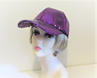 Purple Sequin Baseball Cap - Red Hatters