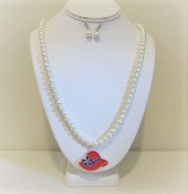 Red Hat Charm Pearl Necklace Earrings (MRH Store exclusive)