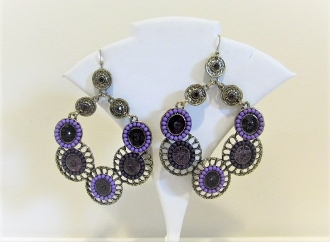 Large Purple Bead - Crystal Earrings - Red Hat Society Ladies