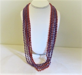 6 Strands Round Fun Beads - 3 Red 3 Purple - Red Hat Party Favor