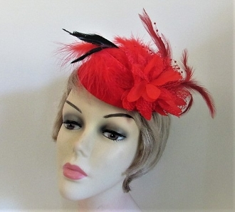 Red Fitted Cap Flower Feather Fascinator - Red Hat Ladies