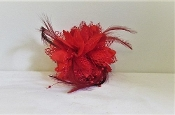 Red Silk - Flower Pin, Pony Tail Holder- Red Hat Accessory
