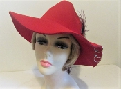 Fine Feathered Felt Panama Red Hat