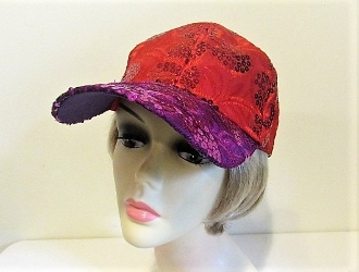 Red - Purple Sequin Baseball Cap - Red Hatters