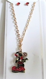 Gold Boot Holiday Necklace Earring Set - Red Hatters Accessory