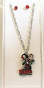 Silver Boot Holiday Necklace Earring Set - Red Hatters Accessory