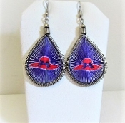 Peruvian Silver - Red Purple Thread Earrings - Red Hat Ladies